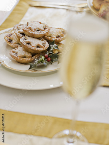 Christmas dessert and champagne