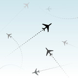 Fototapety Commercial Airline Passenger Airplanes flights air traffic