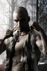 Stylized portrait of a tribal warrior