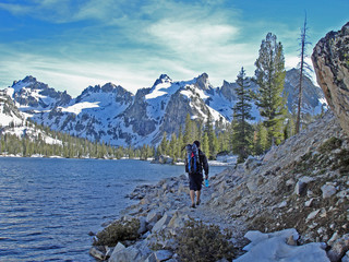 Backpacker in Sawtooths