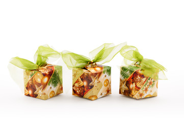 christmas decoration, boxes with green ribbon