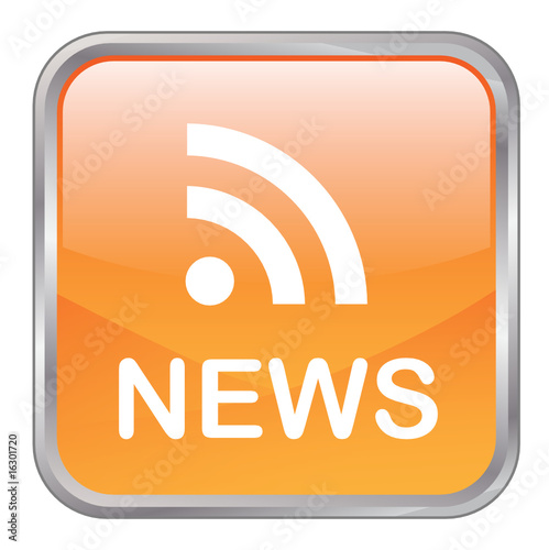 "Square vector ""NEWS"" button (orange)"