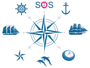 Set of nautical vector symbols