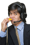 Asian call center agent blowing whistle