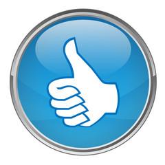 """Circular """"THUMBS UP"""" button (vector; blue)"""