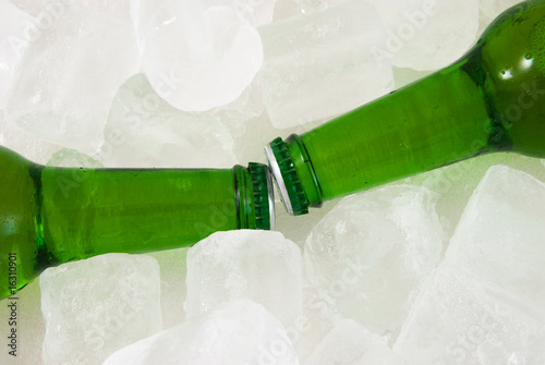 Beer bottles in ice cubes