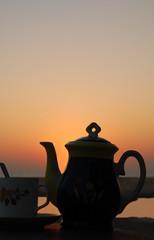 Tea Set At Sunset