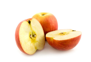 Whole and cut apples