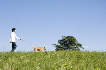 犬の散歩をする男性