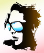 Quadro woman wearing sunglasses illustration