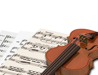 Music notes and violin