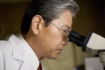 顕微鏡を覗く男性医師