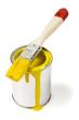 farbdose gelb und pinsel isoliert auf weiss