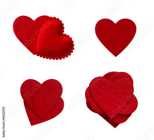 isolated paper love heart collection