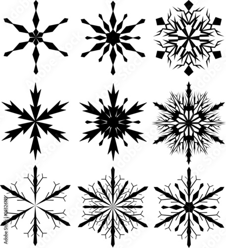 set of nine snowflakes