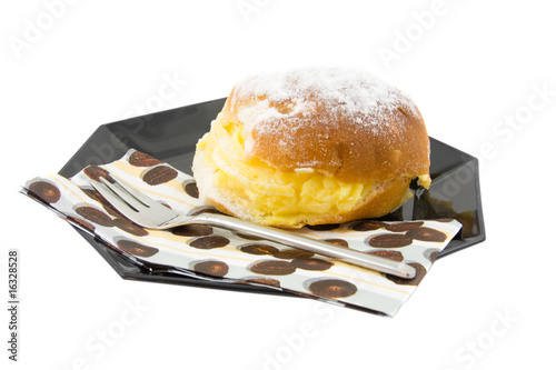 delicious cream sandwich on white background