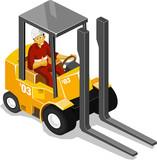 Forklift Isometric poster