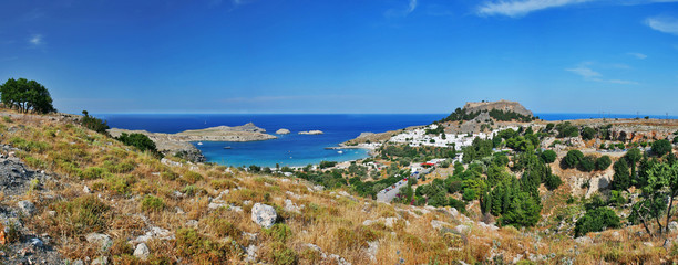 panorama view city of lindos, rhodes greece