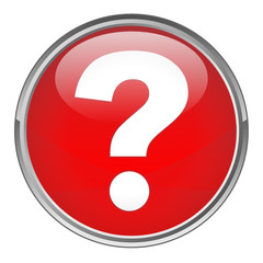 Circular button with Question Mark Symbol (vector; red)