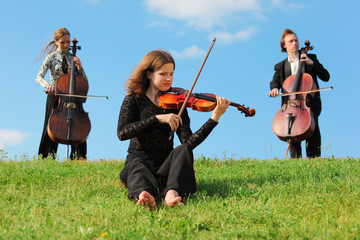 violinist and two violoncellists play on grass against sky
