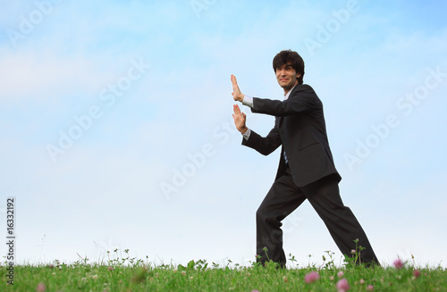 businessman pushes standing on grass