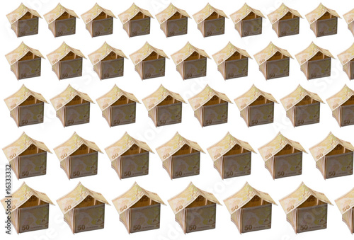 Houses made of fifty valued banknotes