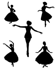 dance silhouettes vector illustration black and white color