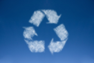 Recycle symbol with blue sky