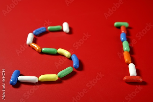 Candy colorful sweets with letter shapes