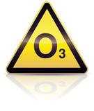 Panneau de danger ozone (reflet métal) poster