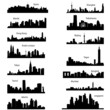 Detailed vector silhouettes of Asian cities