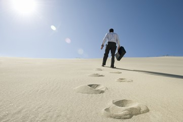 Businessman Walking Uphill With Briefcase in the Desert