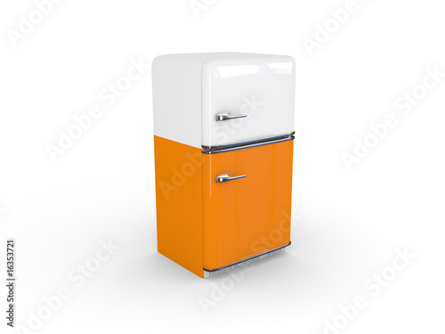 yellow retro refrigerator