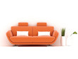 orange sofa on white background