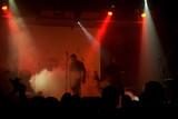 Rock concert, blurred unrecognizable musicians poster