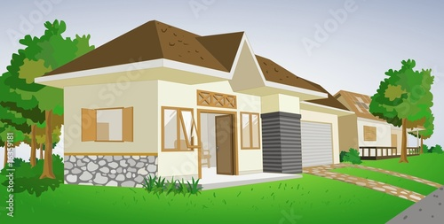 House graphic with green environment