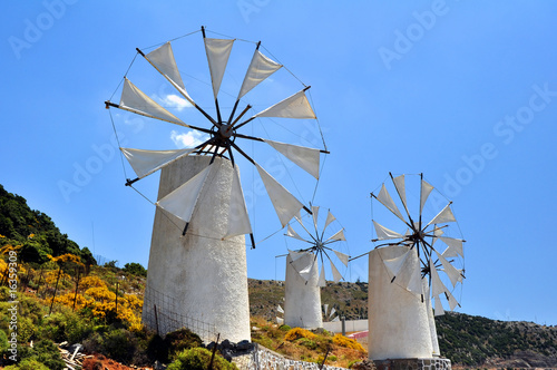 Traditional wind mills in the Lassithi plateau, Crete, Greece. - 16359309