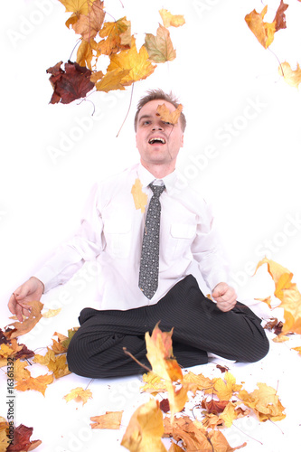 manager in autumn leaves