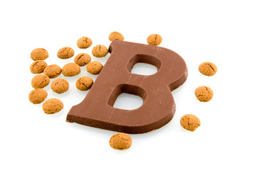 A chocolate letter with Sinterklaas candy