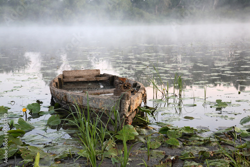 poster of Foggy dawn on the river in August.
