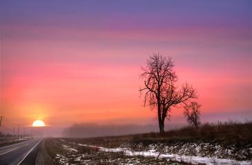 Winter Sun Set On Route 6