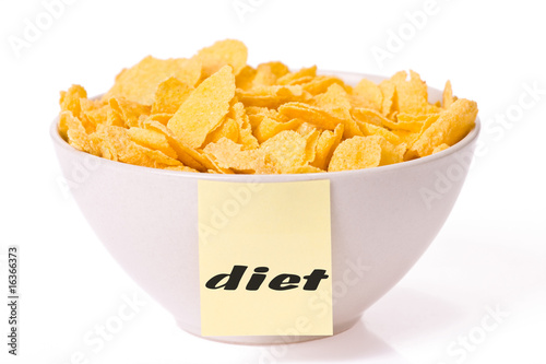 cornflakes in bowl and note paper