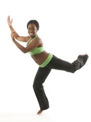 young pretty hispanic african american woman exercising dance ba