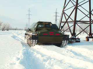 Off-road vehicles in the snow