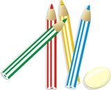 Elastic and set of colorful pencils. Vector poster
