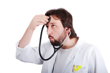 Young male doctor is taking care of himself