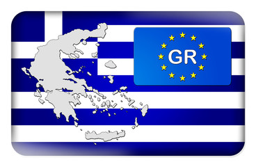 3D-Button Europäische Union - Griechenland
