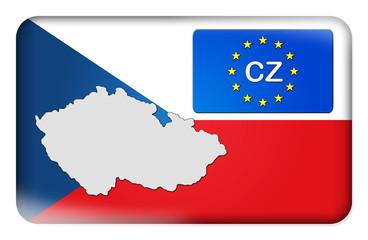 3D-Button Europäische Union - Tschechien