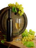 Fototapety White wine and old barrel
