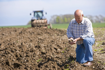 Farmer cupping soil in field with tractor and plough in background